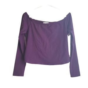 BP. Off The Shoulder Plum Colored Long Sleeve Top